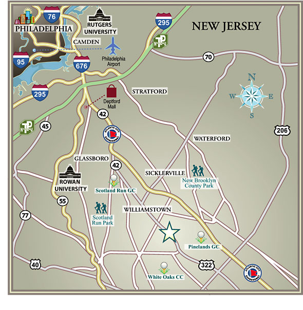 map of surrounding area of the Summerfields West residences in Williamstown NJ