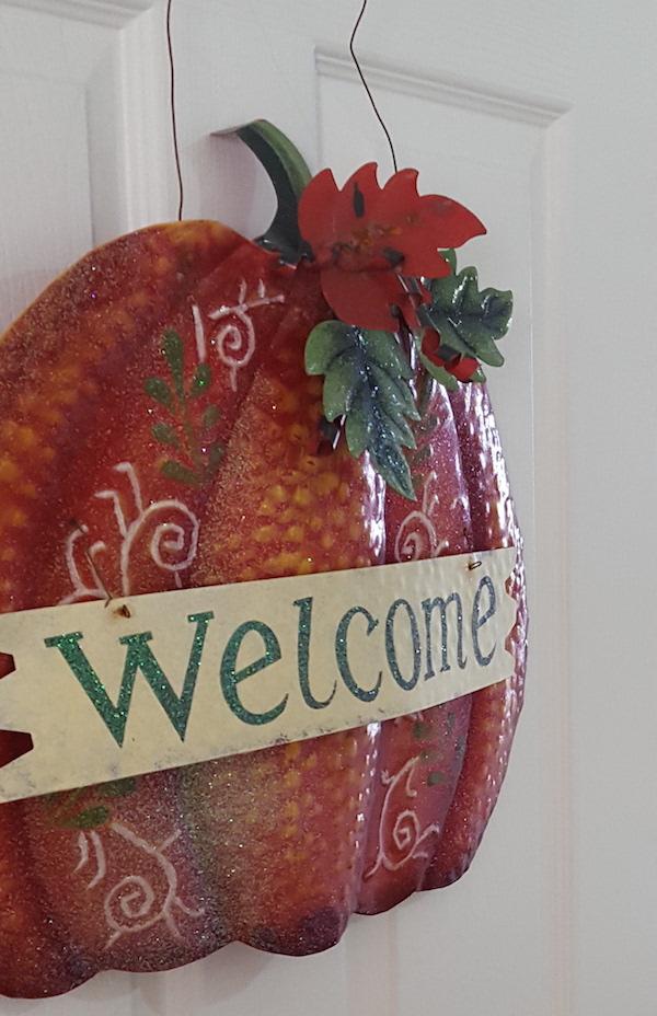 Halloween Pumpkin Welcome Sign Door Hang