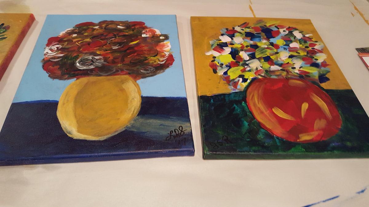 painting flower vase craft nights