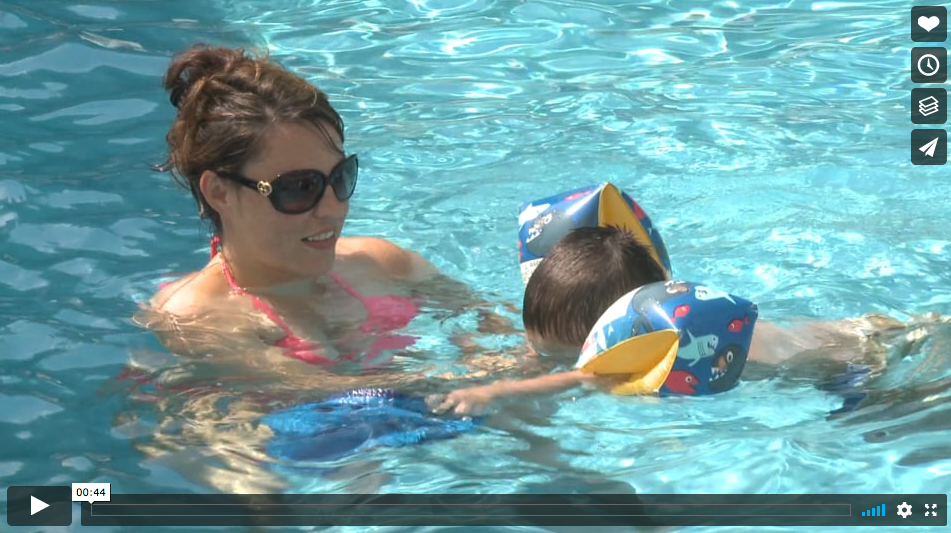 pool video mother and son