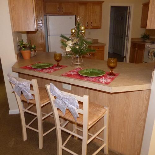 Christmas decorations in a Meadow Model Kitchen